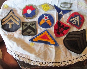 ELEVEN Assorted RARE Original Authentic WWII Patches from Variety of Services, Great Condition, Some Never Sewn on Uniforms