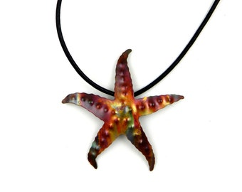 sea star necklace, starfish pendant, starfish necklace, starfish jewelry, Pacific Northwest, copper starfish, flame painted, torched copper