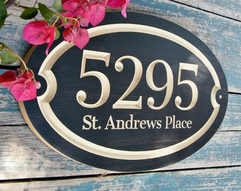 "15""x9"" Oval House Number Engraved Plaque, Housewarming Gift, Open House Gift, Realtor Closing Gift, Address Sign, House Number, Outdoor Sign"