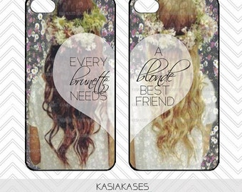 BLONDE BRUNETTE bff Case / Best Friends iPhone 4 Case Daisy iPhone 5 Case iPhone 4s Case iPhone 5s One For Your Bff Trendy Flower Crown