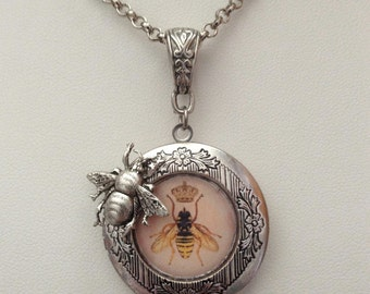 Steampunk Victorian Queen Bee Honey Bee Silver Locket with Bee Charm