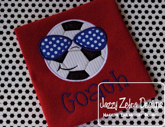 Soccer Ball with Sunglasses Appliqué embroidery Design - soccer appliqué design - boy appliqué design