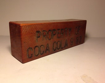 Vintage 1987 Coca Cola Advertising Wood Block.  Soda, pop cola, sodiana, advertising.