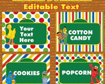 INSTANT DOWNLOAD Sesame Street Editable Buffet Labels & Tent Cards Birthday party decorations