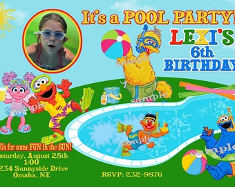Sesame Street Pool Party Invitation with Photo You Print  Digital File Birthday Party Invite