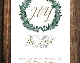 Joy to the World Christmas Card // 20 PRINTED CARDS //  5x7, Christian Christmas Card, Rustic Christmas Card, Religious Christmas Card