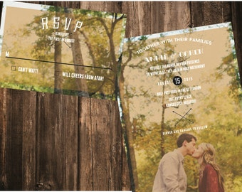 Modern Custom Photo Wedding Invitation // DOWN PAYMENT towards Printed Sets // Modern Wedding, Photo Invitation, Engagement Photo