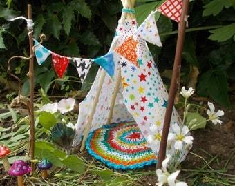 Fairy Garden Star Teepee Miniature Garden Fairy Banner Fairy Rug Fae Garden