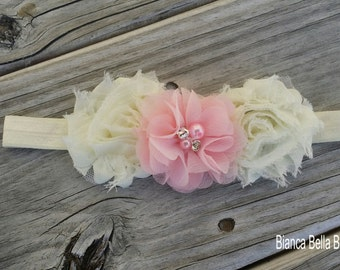 Baby Headband Infant Headband Toddler Headband Newborn Headband Ivory Pink Headband Photo Prop
