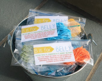 B is for Belly, Belly Measuring Game, Belly Game, Baby Belly Game, Baby Shower Game, Bags Assembled