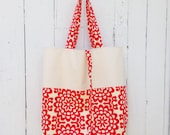 Reusable Grocery Bag, Market Tote Bag, Roll up tote bag, Farmers Market Bag, Packable Tote in Lotus Wallflower Cherry