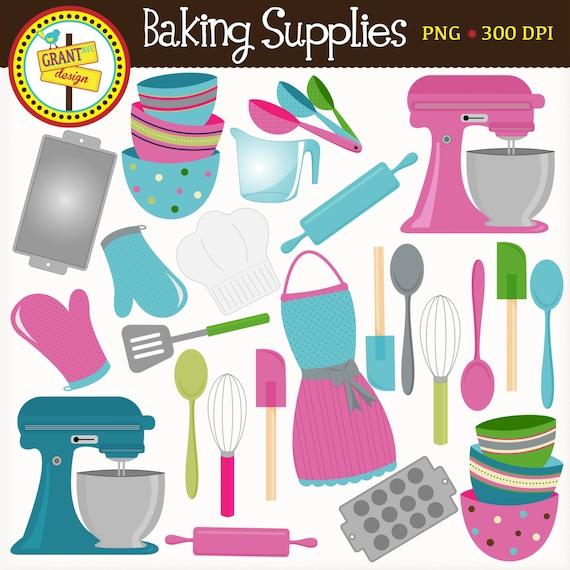 Kitchen utensils clip art pan - Baking Supplies Clipart Cute Baking Clip Art Pink And Blue