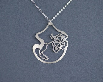 Hummingbird and Hibiscus - Sterling Silver Hand Cut Pendant, Sterling Silver Necklace