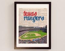Texas Rangers Dictionary Art Print - Rangers Ballpark in Arlington - Print on Vintage Dictionary Paper - Baseball Art , Dallas Texas, Gift