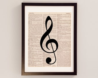 Treble Clef Art Print - Music Art - Print on Vintage Dictionary Paper - Treble Clef Print - Melody, Gift for Musician