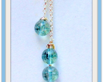 Nautical Jewelry,Aqua Tourmaline Gemstones,Beautifully Detailed 3mm STERLING SILVER ROLO Chain,Beach Necklace,Resort Jewelry,Beach Jewelry