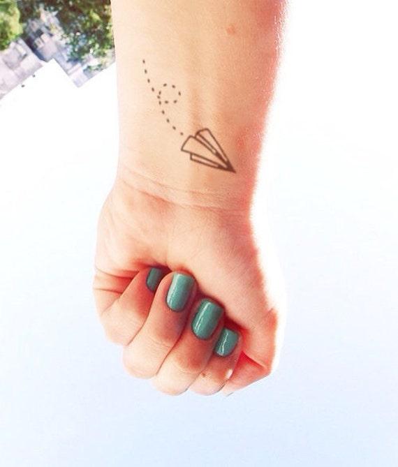 poignet de 3pcs papier avion inknart tatouage par inknart sur etsy. Black Bedroom Furniture Sets. Home Design Ideas