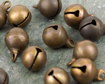 8mm Solid Brass Jingle Bells Charm Bead Finding rb38(40pcs)