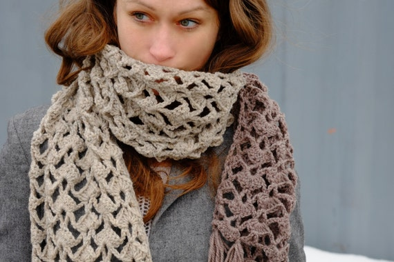 Extra Long Crocheted Scarf / Fashion Wool Spring Scarf
