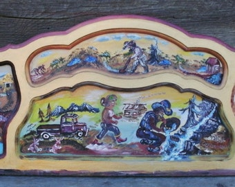 The Phases of a Gold Miner's Life, an Acrylic Painting