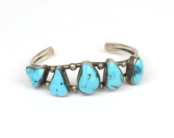 Vintage Cuff - Vintage Navajo Free Form Turquoise and Sterling Silver Cuff