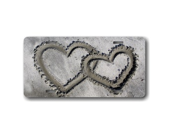 Sand Hearts Decorative License Plate - Car tag with Hearts