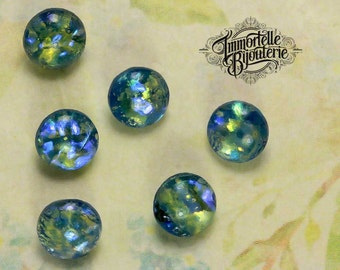 SS30 Light Sapphire Blue Fire Opal Vintage Round 6mm Rhinestone Chatons Jewels - West German High Quality Rare Opals - 12pcs