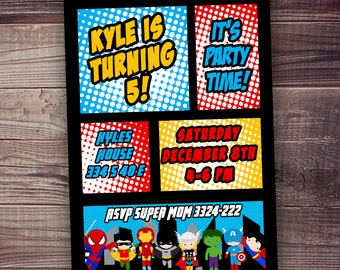 Superhero Invitations FAST Ship Free Customized Wording - Free birthday invitation templates superhero