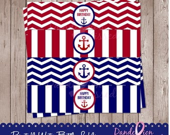 Blue Red Nautical Anchor Happy Birthday Digital Printable Water Bottle Labels Tags DIY
