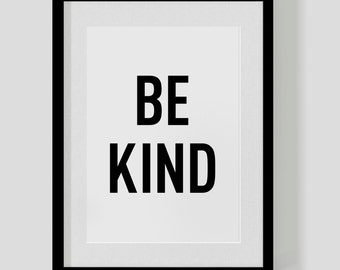 BE KIND – typographic quote poster print – custom personalised colours – cute vintage retro type – Free Worldwide Shipping