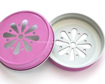 Pink Daisy Lids, Mason Jar Lids, Daisy Cut Lids, Rustic Wedding Table Setting, Gender Reveal Baby Shower, Pink Lemonade Party Party Supplies
