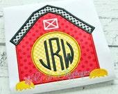Monogram Barn Digital Machine Embroidery Applique Design 4 sizes Natural Circle Embroidery Alphabet