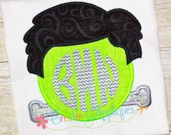 Frankenstein Monogram Halloween Digital Machine Embroidery Applique Design 4 Size frankenstein applique, monogram applique, frankie applique