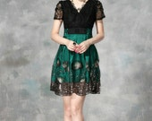 036. Women's Clothing New Arrival Beads Decrative Lotus Leaf Embroidery Patchwork Stitching Evening Dress/ Retro Green Peplum with Lace