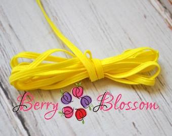 "Sunny Yellow skinny elastic 1 or 5 yards - 1/8"" inch - elastic by the yard - Sunny Yellow Thin Elastics - Extra Thin Skinny 1/8"""
