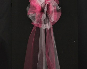 Hot Pink Black Light Pink Tulle Wedding Pew Bows Church Ceremony Asile Decorations