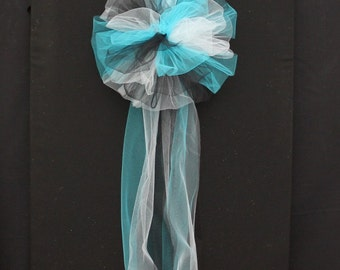 Turquoise Black White Tulle Wedding Pew Bow - Church Wedding Bows