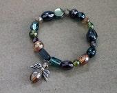 Colorful Shiny Glass beaded stretch bracelet with Angel Charm