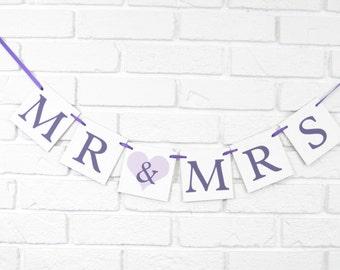 Mr and Mrs banner, bridal shower banner, bride and groom banner,bride & groom sign,wedding photo prop,mr and mrs chair banner,wedding banner