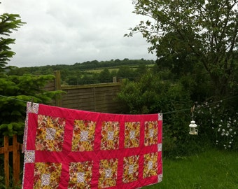 Handmade Patchwork Quilt - Eccentric Friends – Traditional Quilt Blocks in Pink and Yellow Flowers