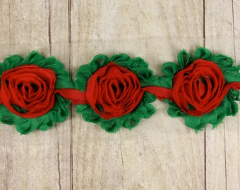 1/2 Yard - Christmas Green with Red center Shabby Chiffon Flower -  shabby flower trim, shabby chiffon rose trim, shabby rosette trim
