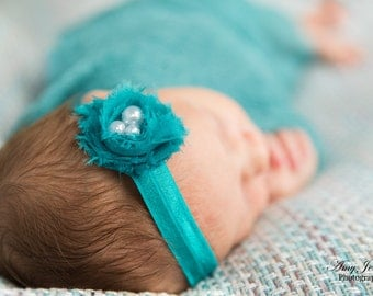 Turquoise Headband - Newborn Headband - Baby Headband - Toddler Headband - Photo Prop - Small Flower - Teal Headband - Jade Headband