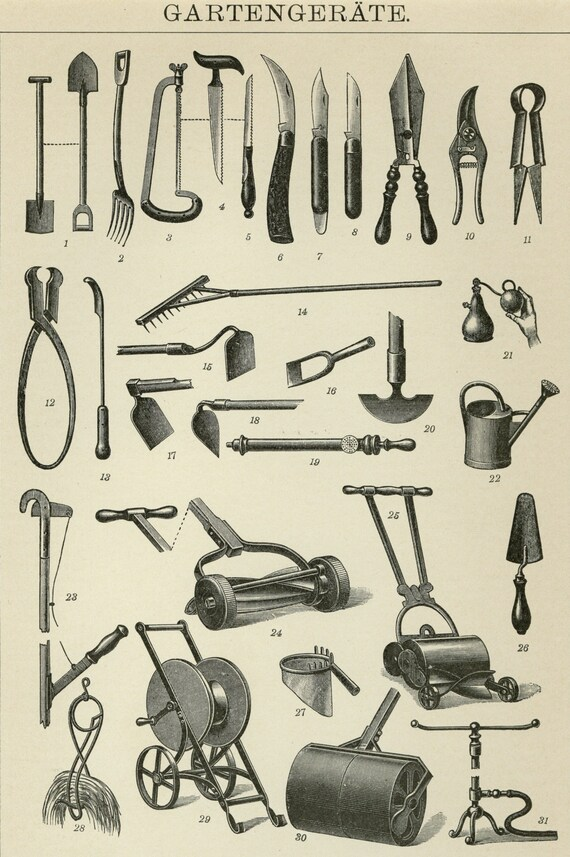 Matted Antique Garden Tools Print Antique Engraving C 1890