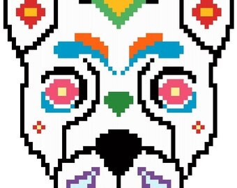 Dog Sugar Skull Cross Stitch Pattern Instant Download