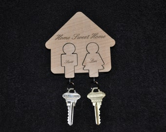 Solid wood - His & Hers key chain holder