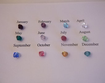 Add on Swarovski Crystal 4 mm Birthstone Charm for Mother's, Grandmother's or Couple's Necklace