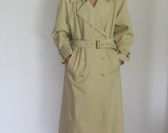 Beige Yellow  Classic Trench Coat Belted Lining Trenchcoat Double Breasted Overcoat Raincoat Preppy