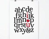 Nursery Art •  Alphabet Print - Children's Art - Love Print - I Love You Wall Art - Red & Black