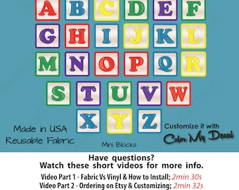 Alphabet Wall Decal, Nursery Wall Stickers, Alphabet Block Wall Decal (MINI  Alphabet Blocks Colorful) ABC