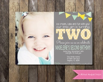 Second Birthday Invitation, Second Birthday Invitation, Polka Dot Invitation, Yellow Invitation, Green Invitation, Printable Invitation, TWO